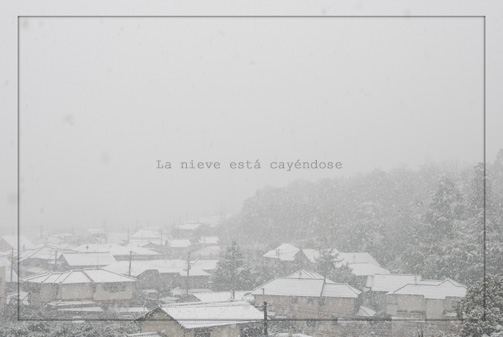 The snow is falling